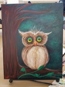 """Einstein Owl"", Acrylic on Canvas 3-5-2017"