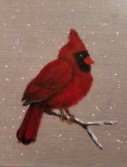 Cardinal, Feb. 2017 Acrylic on Burlap