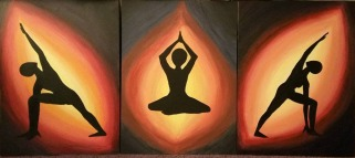 Yoga Flame Series of 3 Fall 2016 Acrylic on Board